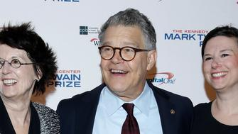 Senator Al Franken, his wife Franni Bryson (L) and their daughter Thomasin arrive for a gala honoring David Letterman, who is receiving the Mark Twain Prize for American Humor, at Kennedy Center in Washington, U.S., October 22, 2017.   REUTERS/Joshua Roberts