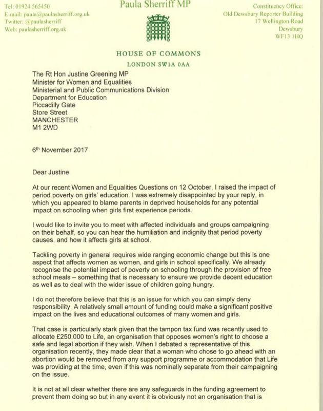 Paula Sherriff's letter to Education Secretary Justine