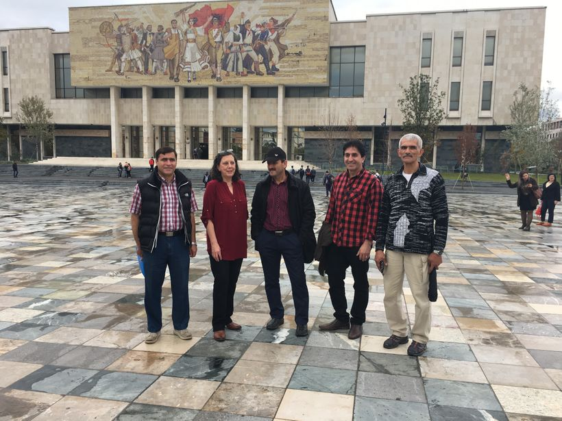 <strong>Anne Khodabandeh with recently escaped MEK slaves in Tirana </strong>