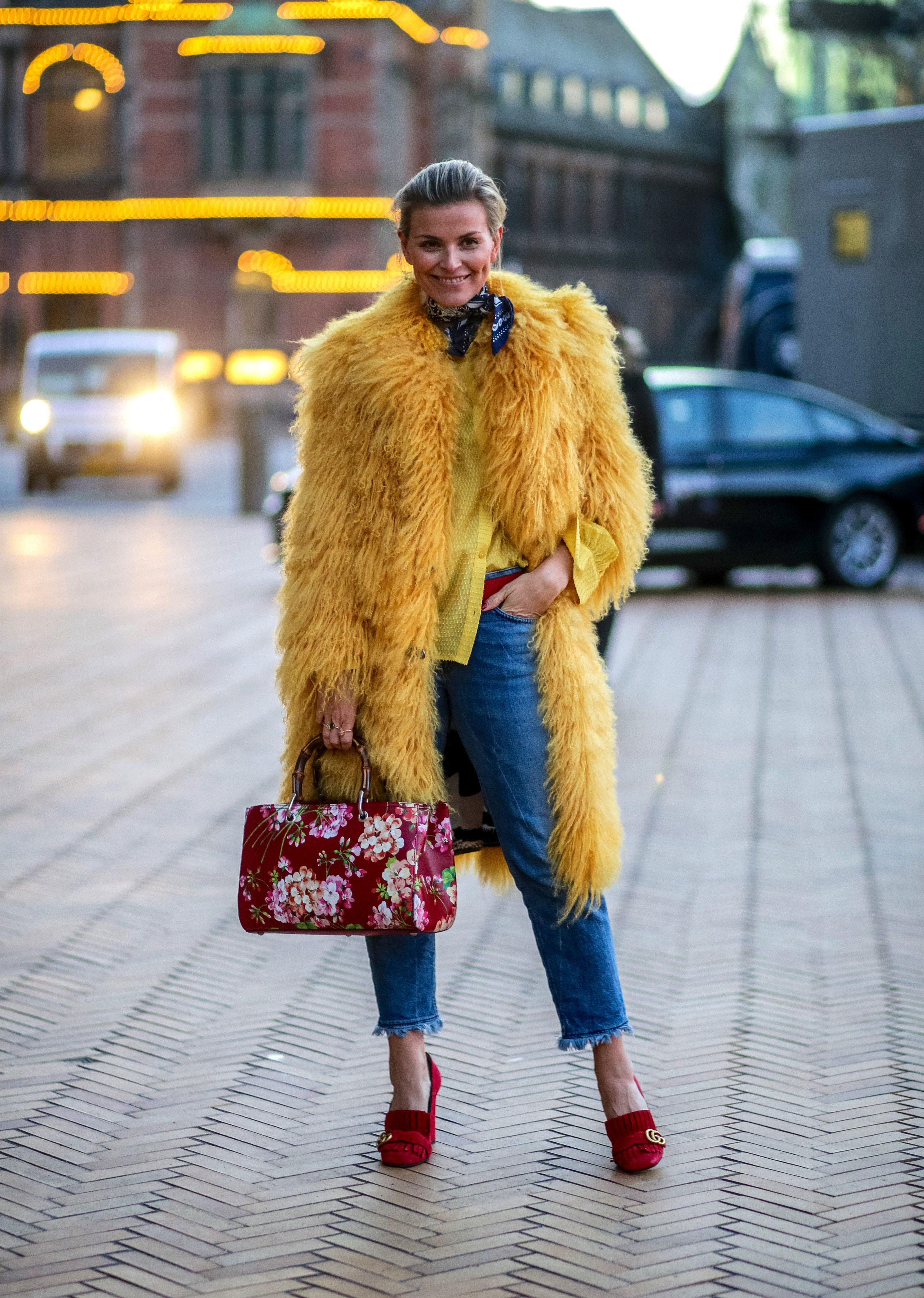 COPENHAGEN, DENMARK - FEBRUARY 03: Janka Polliani wearing Saks Potts coat, Gucci bag and shoes outside Lala Berlin during the Copenhagen Fashion Week Autumn/Winter 2016 on February 3, 2016 in Copenhagen, Denmark.  (Photo by Christian Vierig/Getty Images)