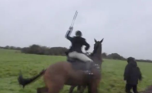 'Get off my horse!' - Huntswoman savagely whips anti-fox hunting protesters