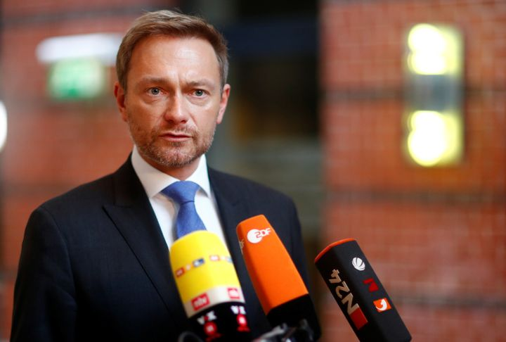 Free Democratic Party (FDP) leader Christian Lindner gives a statement as he arrives for the board meeting at the party headq