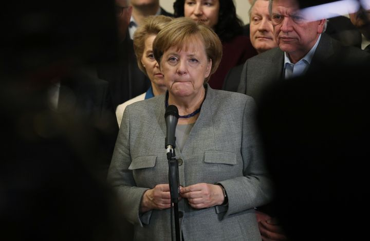 German Chancellor and leader of the German Christian Democrats (CDU) Angela Merkel, standing with leading members of her part