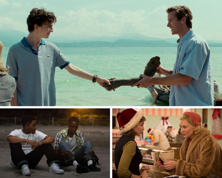 "Clockwise from top: ""Call Me by Your Name,"" ""Carol"" and ""Moonlight."""