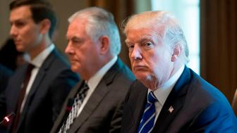 US President Donald Trump sits alongside US Secretary of State Rex Tillerson (2nd L) and Senior Adviser Jared Kushner (L) during a working lunch with Spanish Prime Minister Mariano Rajoy in the Cabinet Room of the White House in Washington, DC, September 26, 2017. / AFP PHOTO / SAUL LOEB        (Photo credit should read SAUL LOEB/AFP/Getty Images)