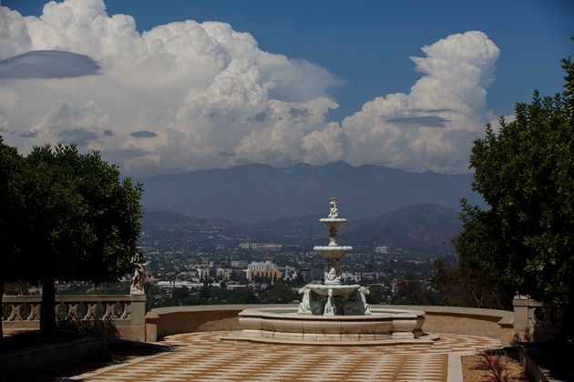 A fountain stands overlooking the valley at the former conventin Los