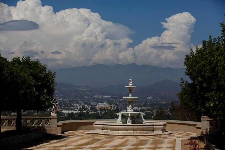 A fountain stands overlooking the valley at the former conventin Los Angeles.