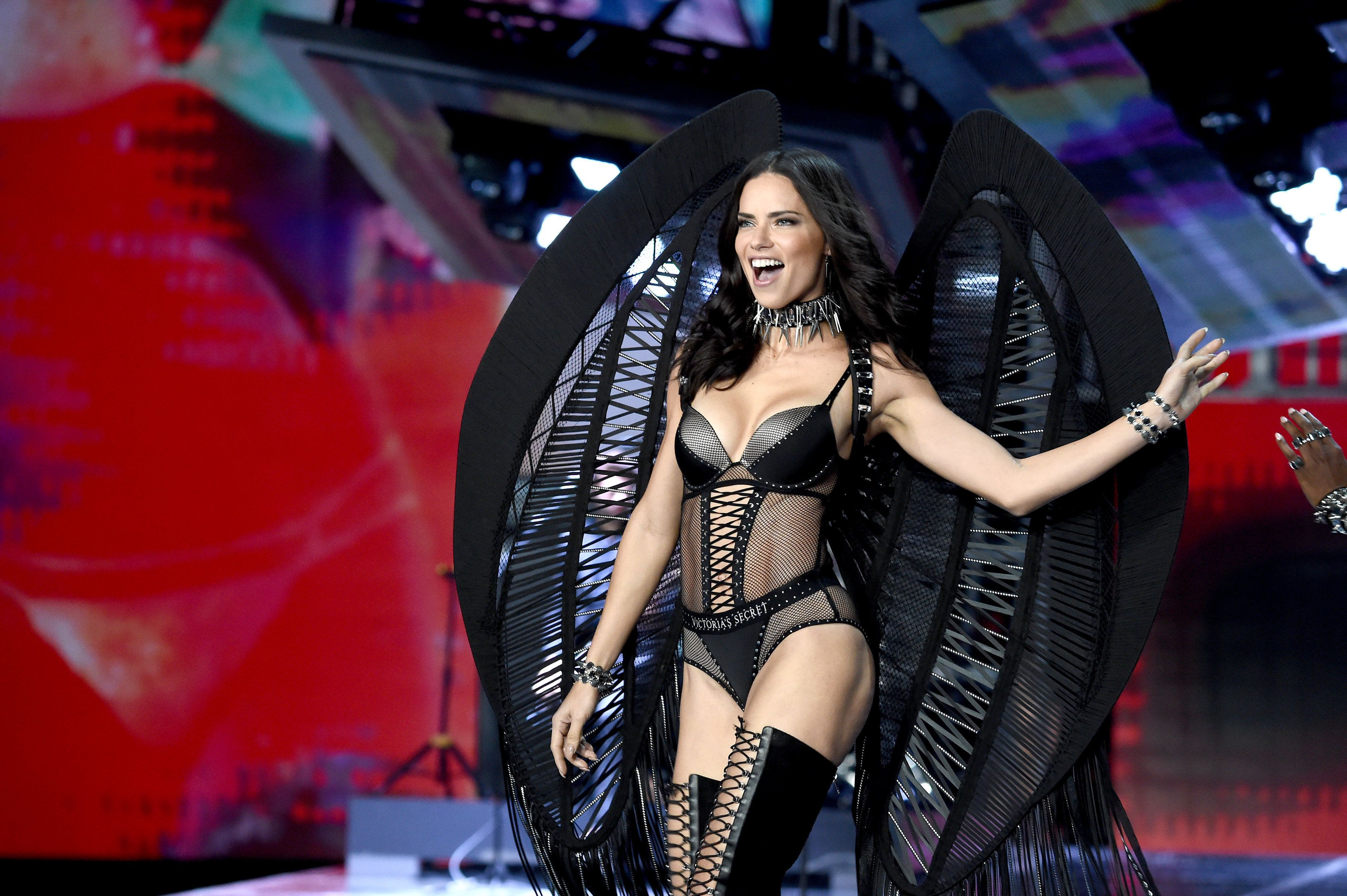 SHANGHAI, CHINA - NOVEMBER 20:  Adriana Lima walks the runway during the 2017 Victoria's Secret Fashion Show In Shanghai at Mercedes-Benz Arena on November 20, 2017 in Shanghai, China.  (Photo by Theo Wargo/Getty Images for Victoria's Secret)