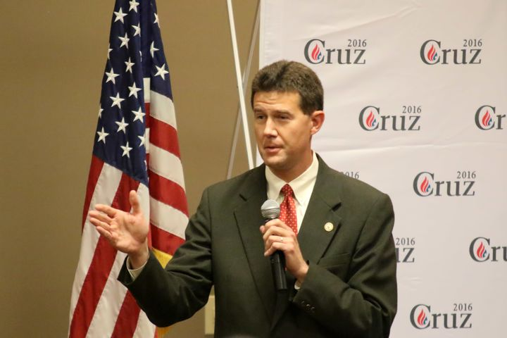 In this file photo from 2015, Alabama Secretary of State John Merrill (R) introduces Sen. Ted Cruz (R-Texas) at an event.&nbs