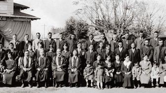 The congregation of Bakersfield Buddhist Church in Bakersfield California November 19 1925