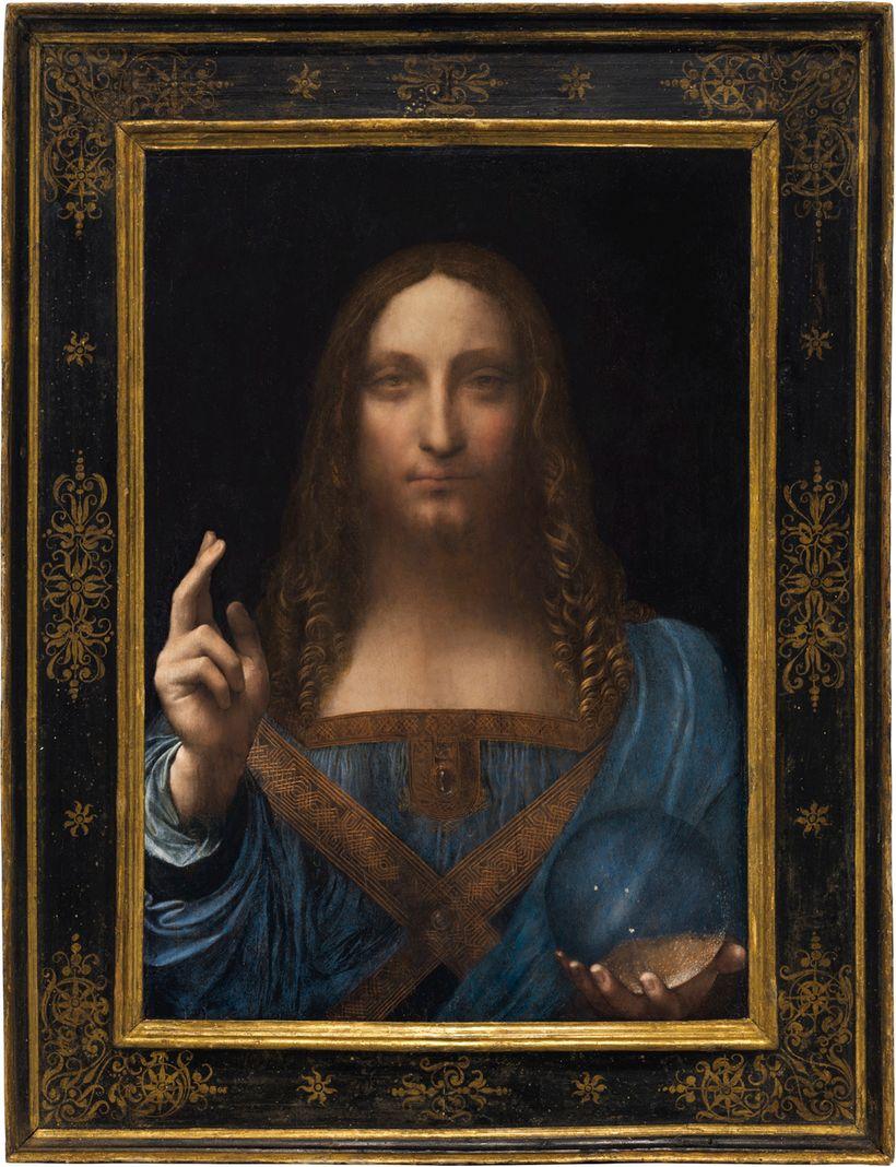Leonardo da Vinci's framed <em>Salvator Mundi</em>, photographed in Christie's auction house in New York in 2017