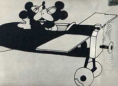 Mickey forces Minnie to kiss him—a common trope of animated sexual harassment in early Hollywood cartoons.