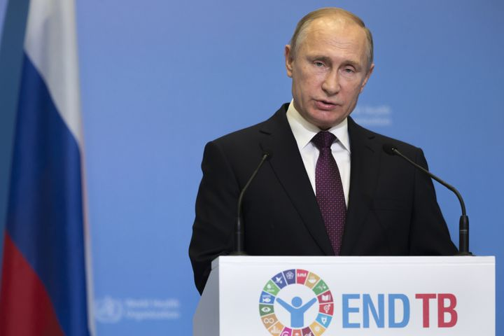 Russian President Vladimir Putin speaks Thursday before the Global Ministerial Conference held by the World Health Organ