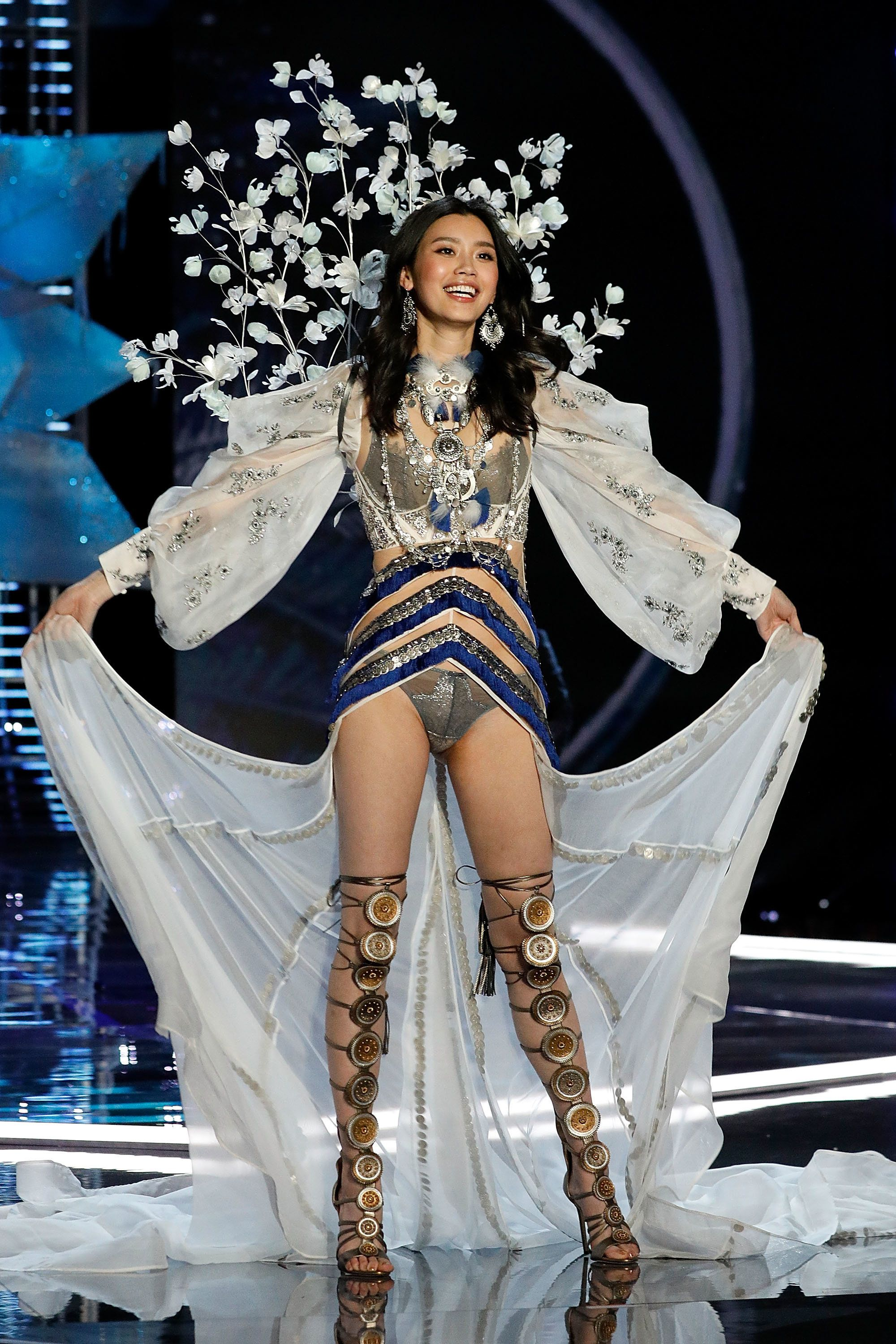 SHANGHAI, CHINA - NOVEMBER 20:  Ming Xi walks the runway during the 2017 Victoria's Secret Fashion Show at Mercedes-Benz Arena on November 20, 2017 in Shanghai, China.  (Photo by Taylor Hill/WireImage)