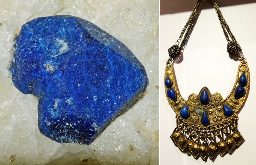 On the left, a lapis lazuli rock from Afghanistan's Badakhshan Province sits in a chunk of calcite. On the right, a lapis-dec