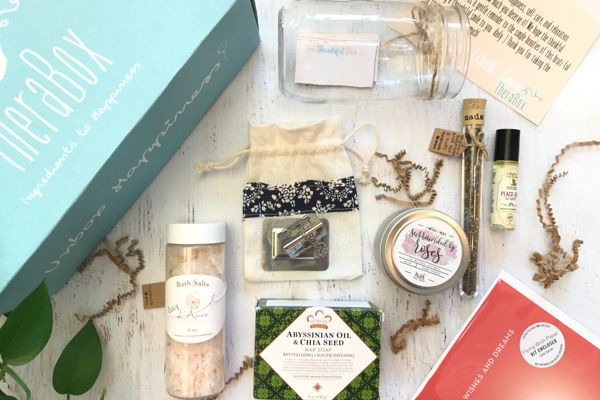 Starts at $35/month. Each box includes 5 to 7 organic self-care wellness items and a happiness-boostingactivity to redu