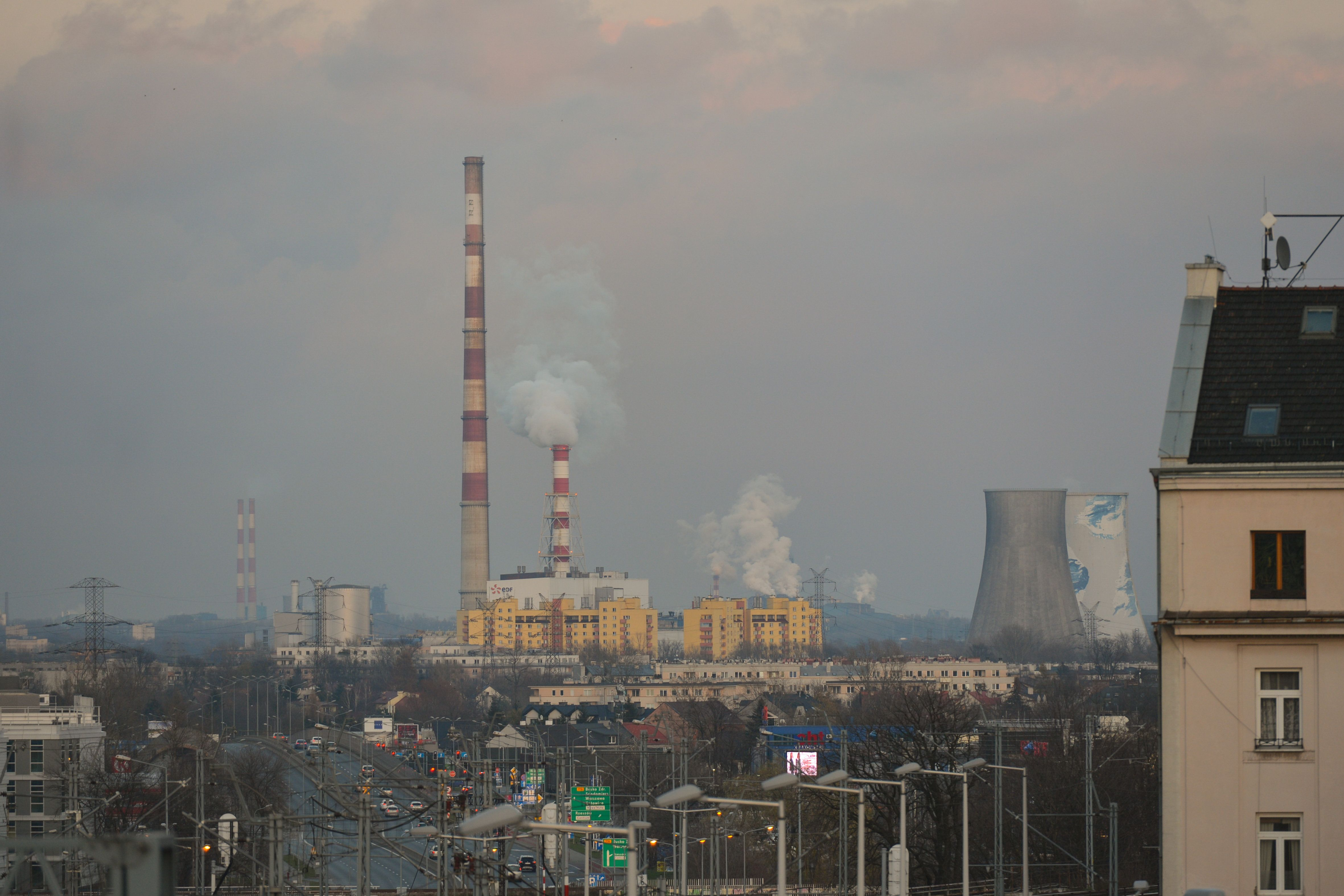 A view of Krakow Heat and Power Plant from Podgorze district of Krakow. On Sunday, 19 November 2017, in Krakow, Poland. (Photo by Artur Widak/NurPhoto via Getty Images)