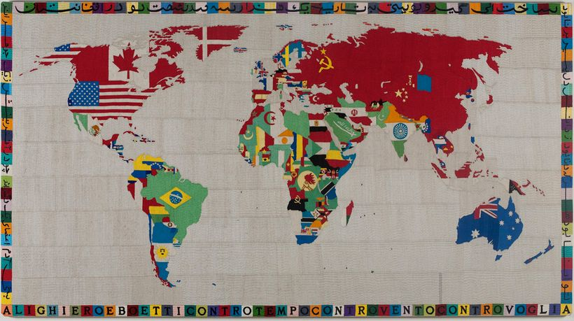 Alighiero Boetti, <em>Mappa (Map),</em> 1988, embroidery on linen on stretcher, 121 x 221 x 3 cm / 47 5/8 x 87 x 1
