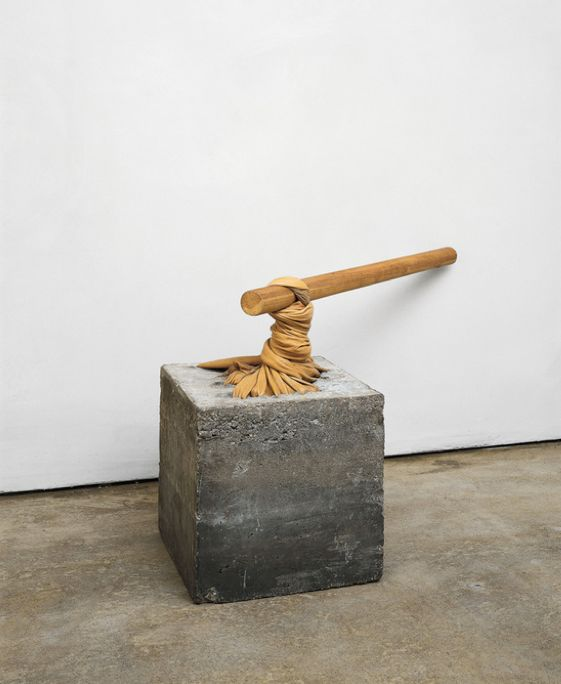 Giovanni Anselmo, <em>Torsione (Torsion),</em> 1968, cement, leather, wood. Overall: approx. 72 x 86 x 86 cm / 28 3&#x2F