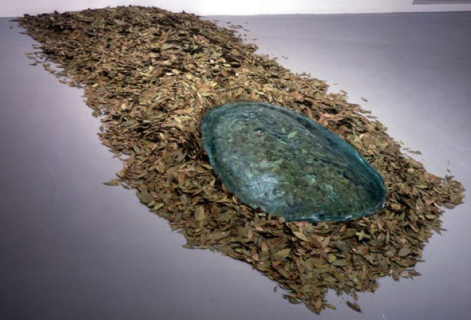 Giuseppe Penone, <em>Unghia e foglie di alloro (Fingernail and Laurel Leaves),</em> 1989, laurel leaves, glass Installation d