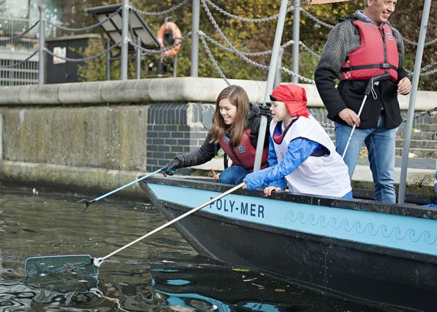 Plastic fishing on recycled boat the Poly-Mer to remove plastic litter from London's
