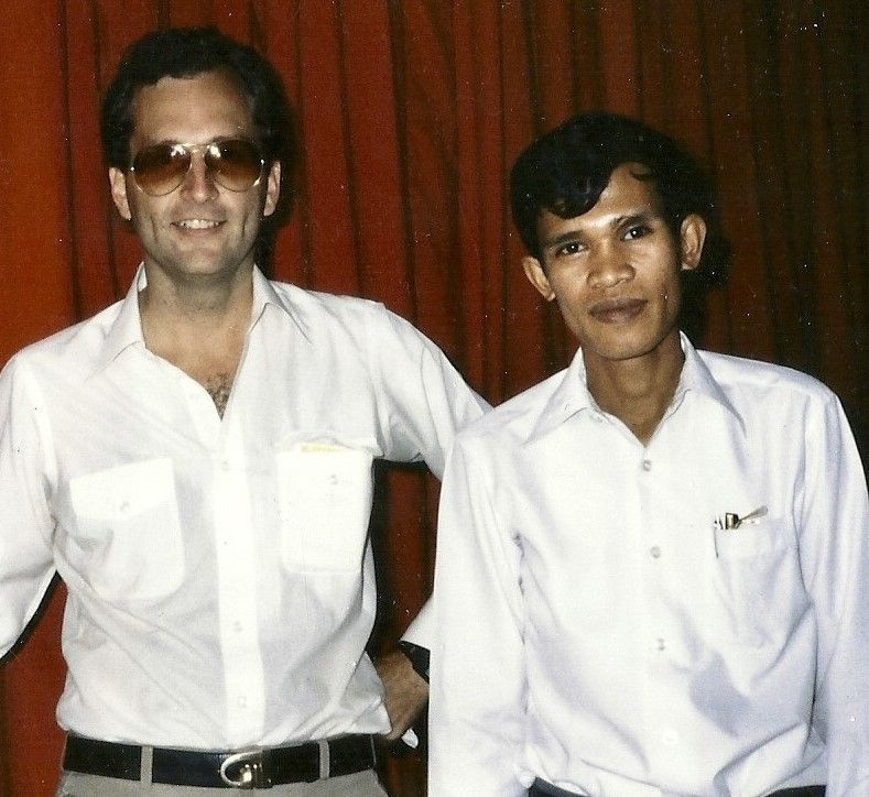 Jim Laurie and Foreign Minister Hun Sen, age 27, January 1980, Phnom Penh