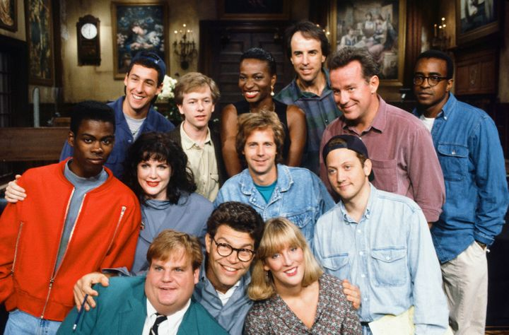 Al Franken is seen among SNL's Season 18 cast members in 1992. The women include Melanie Hutshell, seen in the bottom ro