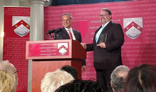 Business Expert Forum Host Clint Arthur honors Ed Bensigner at  Business Expert Forum at Harvard Faculty Club