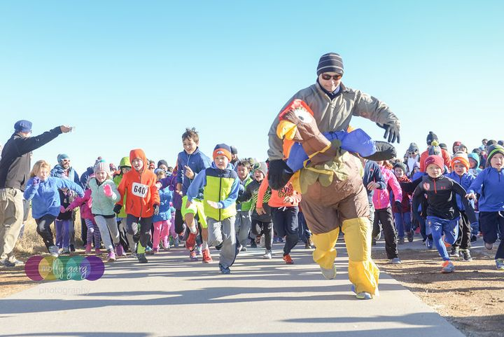 "The Harvesting Hope 5K offers a free fun run for kids in which participants chase a ""turkey."""