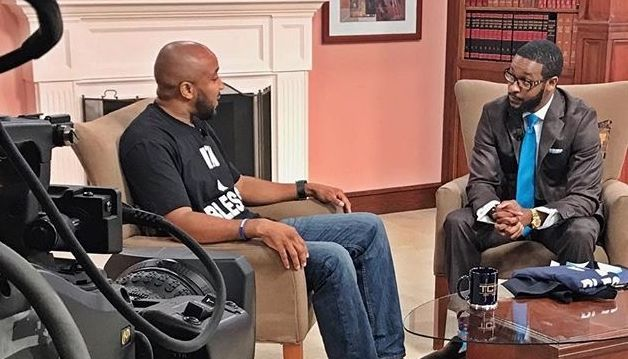 BMe Genius Dr. Eddie Connor interviewing Jerry Boykin on his new talk show Michigan Alive.