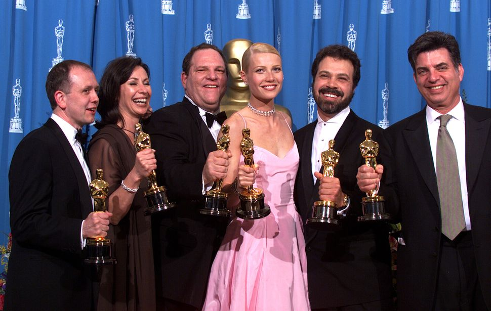 "Harvey Weinstein and Gwyneth Paltrow celebrated at the Oscars in 1999, when ""Shakespeare in Love"" took Best Picture"