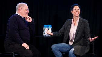HOLLYWOOD, CA - NOVEMBER 19:  Writer Frank Rich (L) and actor Sarah Silverman speak onstage during the 'State of the Union' event, part of Vulture Festival LA presented by AT&T at Hollywood Roosevelt Hotel on November 19, 2017 in Hollywood, California.  (Photo by Joe Scarnici/Getty Images for Vulture Festival)