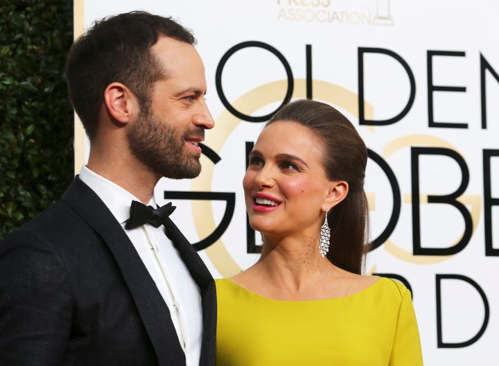 """The """"Black Swan"""" actress is seen with herhusband French dancer and choreographer Benjamin Millepiedin January."""