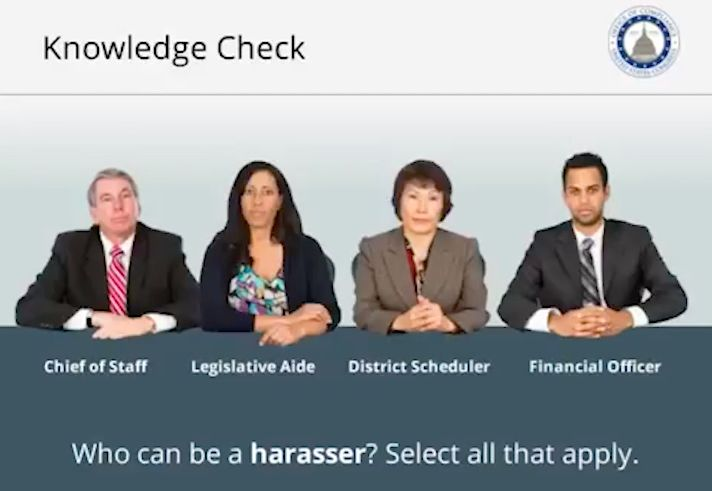 A screenshot from the Office of Compliance's sexual harassment training video.