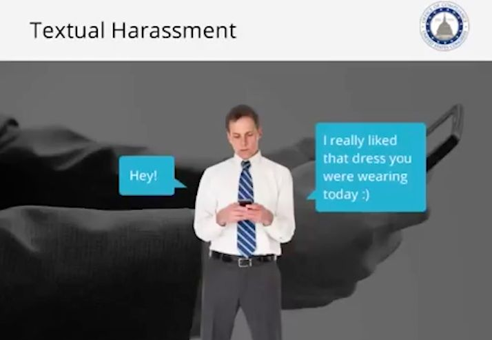 Another screenshot from the Office of Compliance's sexual harassment training video.