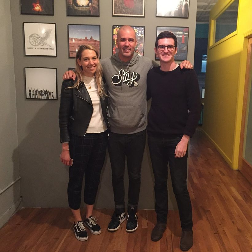 Jamie Tworkowski with Mental Health Hangout's hosts, Lily Stav Gildor and Seamus Kirst.