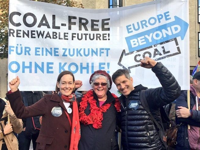 <p>Mary Anne Hitt, Verena Owen, and Bruce Nilles of the Sierra Club Beyond Coal campaign at a rally in Germany during COP23.</p>
