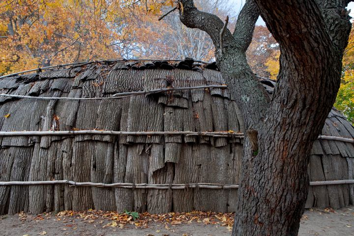 A nush wetu, a house with three fire pits inside, is covered in bark at the Wampanoag Homesite, on Nov. 8, 2013, in Plymouth,
