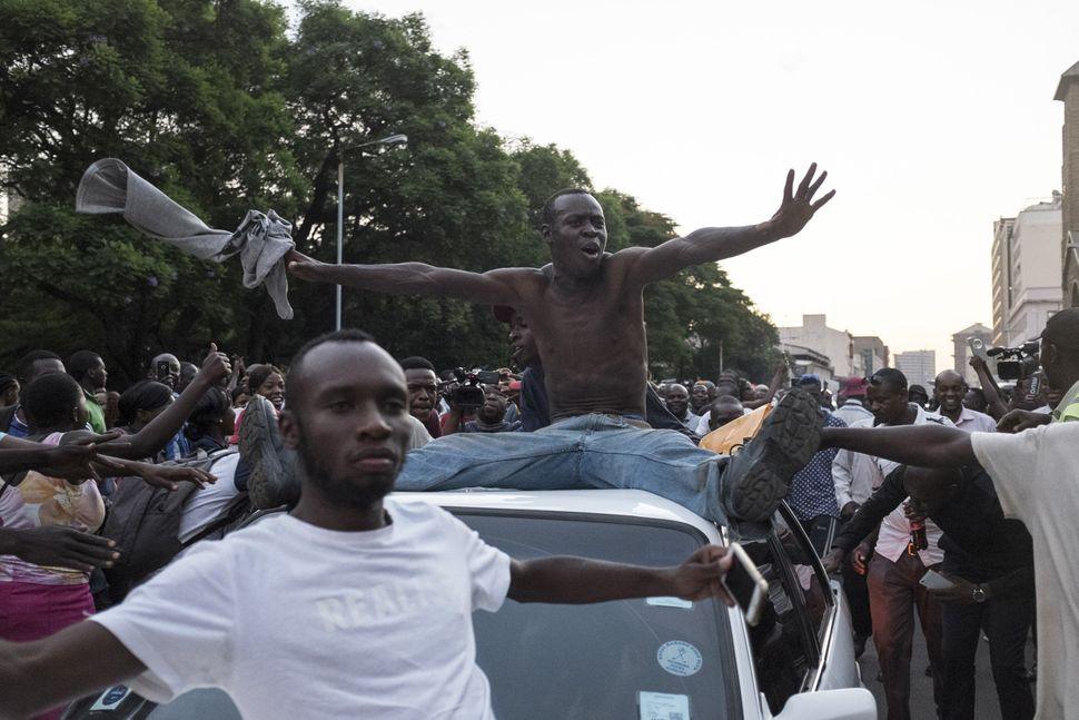 Zimbabweans celebrate.