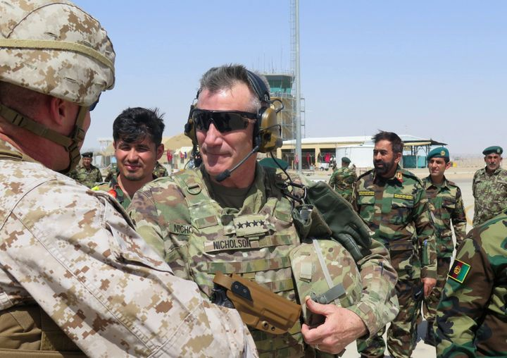 U.S. Army General John Nicholson, commander of U.S. forces in Afghanistan, in Helmand province in April.