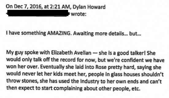 Howard wrote to Weinstein describing the Elizabeth Avellan interview.