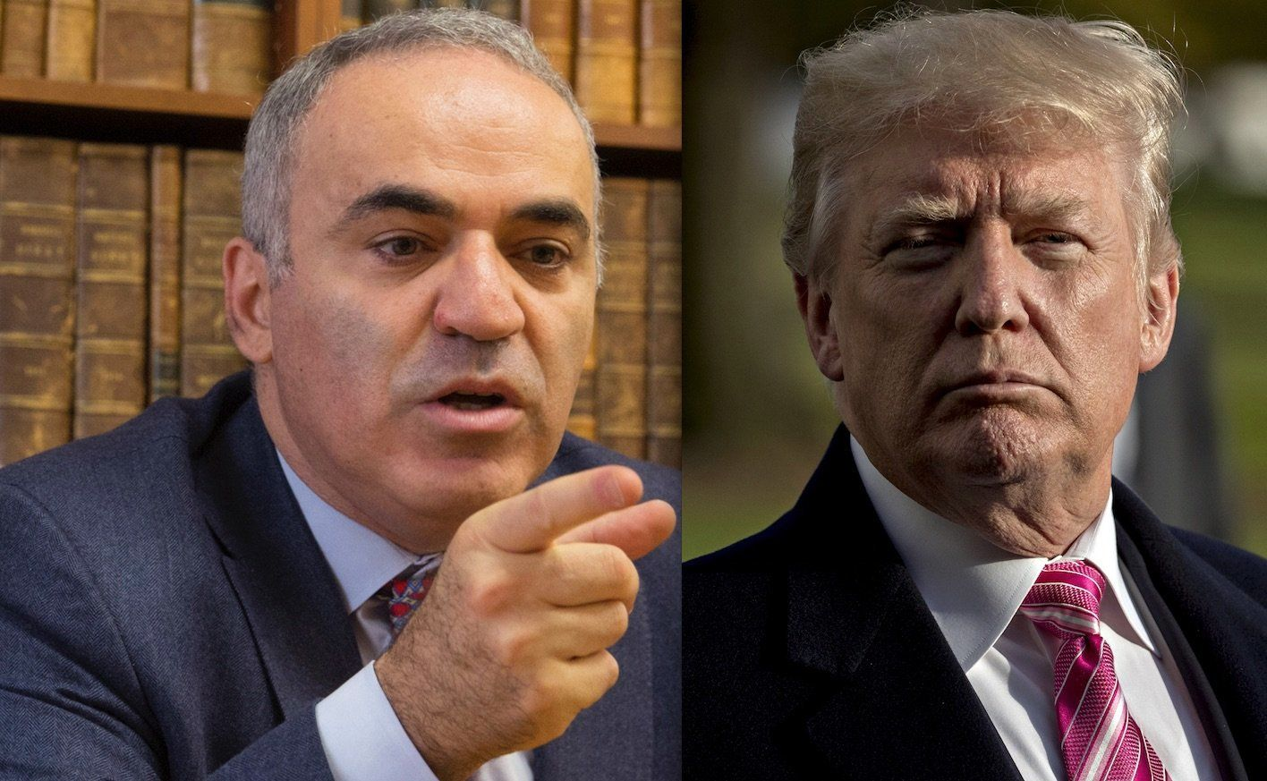"Garry Kasparov, left, said President Donald Trump would lose ""any game of wits"" to Russian President Vladimir Putin."
