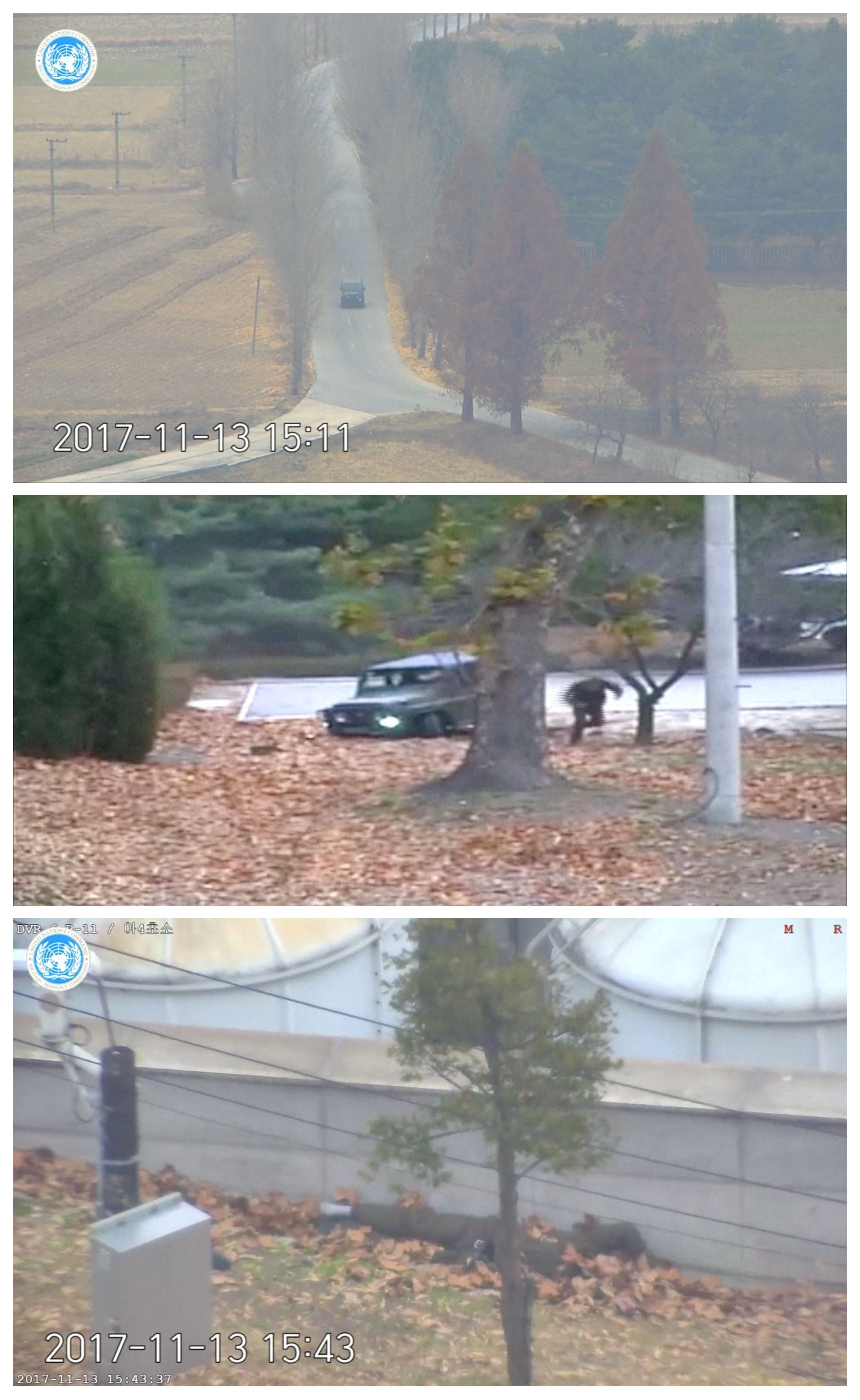 A North Korean soldier can be seen defecting into South Korea in this image taken from a video released...