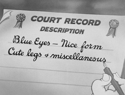 The judge, following the trope of the perverted old man, describes Betty Boop's body more than her testimony.