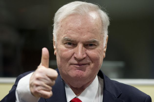 Mladic gestures at the beginning of Wednesday's