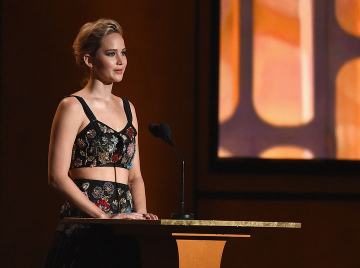 Jennifer Lawrence speaking at the 9th Annual Governors Awards on Nov. 11. She tells The Hollywood Reporter she's still proces