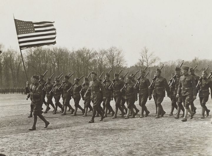 Soldiers marching at Camp Upton, Yaphank, Long Island, New York