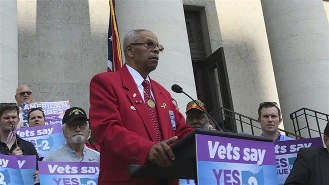 Tuskegee Airman Don Elder speaks out in favor of a ballot measure to curtail state spending on medications at the Ohio Stateh