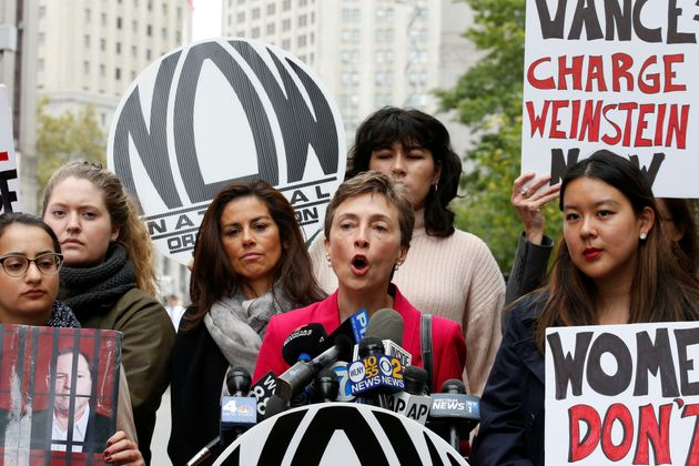 Members of the National Organization for Women hold a rally to call upon Manhattan District Attorney...