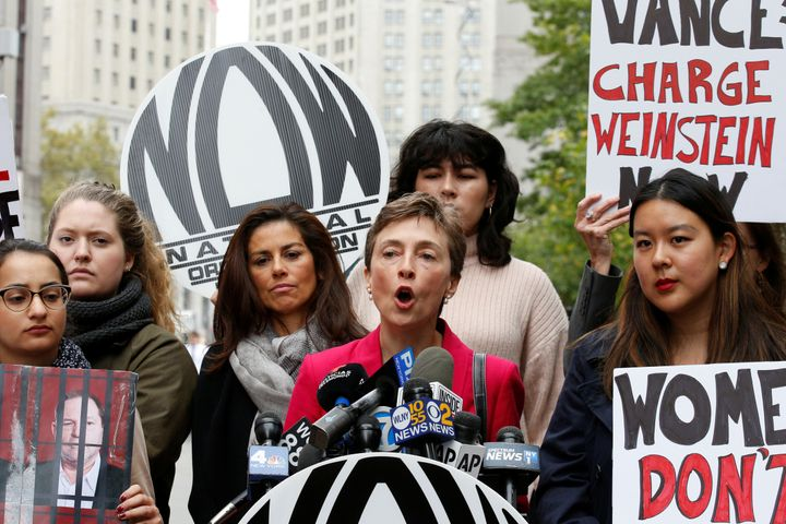 Members of the National Organization for Women hold a rally to call upon Manhattan District Attorney Cyrus Vance Jr. to reope